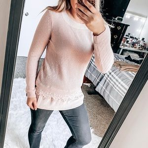 Chelsea & Theodore blush sweater with lace detail